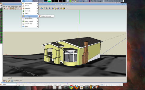 Screenshot: Google SketchUp on Fedora 12 x86_64